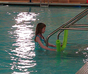 fiona swims at the indoor pool in rice lake